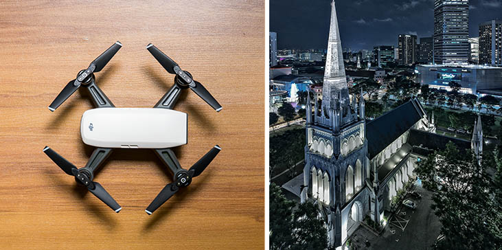 Shoot high resolution low-light / night photos with DJI Spark in panoramic